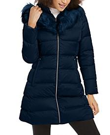 Hooded Fur-Trim Down Puffer Coat