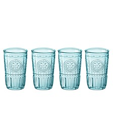 Light Blue Romantic Water Glasses, Set of 4