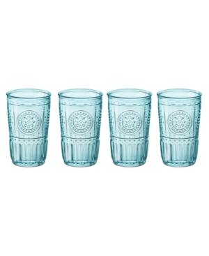 Bormioli Rocco Light Blue Romantic Water Glasses, Set of 4