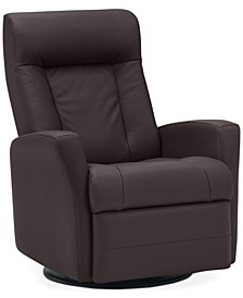 "Faversham 31"" Leather Manual Swivel Glider Recliner"