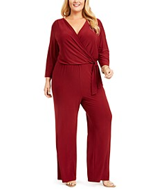 Plus Size Surplice Jumpsuit