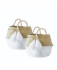 Small Collapsible Palm Leaf Baskets, Set of 2