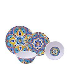 Romella Mixed 12 Piece Melamine Dinnerware Set