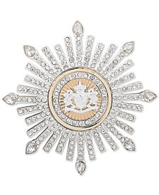 Two-Tone Crystal Crest Burst Pin
