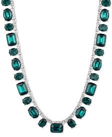 """Silver-Tone Pavé & Stone Collar Necklace, 16"""" + 3"""" extender"""