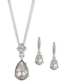 "Crystal Pendant Necklace & Drop Earrings Set, 16"" + 3"" extender"