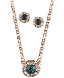 """Pavé and Stone Halo Pendant Necklace & Stud Earrings Set, 16"""" + 3"""" extender"""