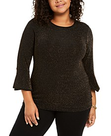 Plus Size Sparkle Dot Bell-Sleeve Top