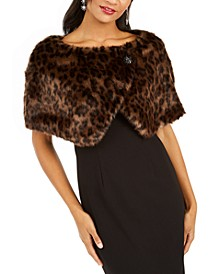 Leopard-Print Faux-Fur Shawl, Created for Macy's
