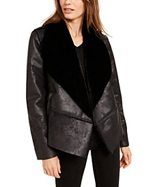 Shearling Drape-Front Jacket, Created For Macy's