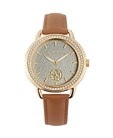 Women's spinning Flower Crystal Brown Leather Strap Watch, 34mm