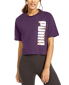 Cotton Metallic Logo Cropped T-Shirt