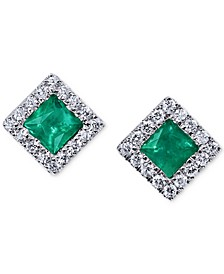 Emerald (1/2 ct. t.w.) & Diamond (1/5 ct. t.w.) Square Stud Earrings in 14k White Gold