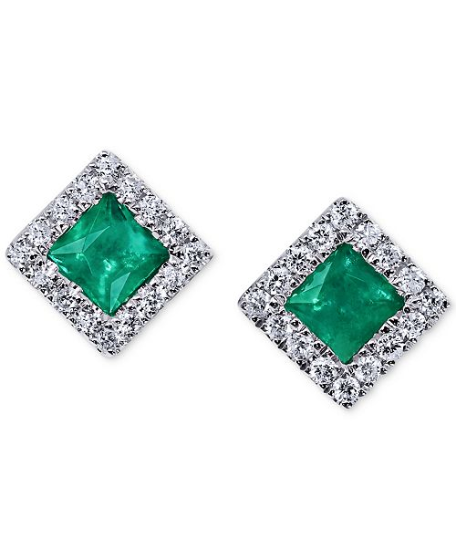 Macy's Emerald (1/2 ct. t.w.) & Diamond (1/5 ct. t.w.) Square Stud Earrings in 14k White Gold