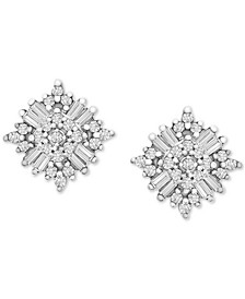 Diamond Sunburst Stud Earrings (1/3 ct. t.w.) in 10k White Gold