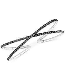 Diamond Crisscross Cuff Bracelet (1 ct. t.w.) in 10k White Gold