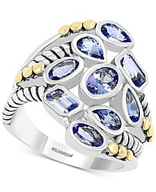 EFFY® Tanzanite Bezel Cluster Statement Ring (2-1/3 ct. t.w.) in Sterling Silver & 18k Gold