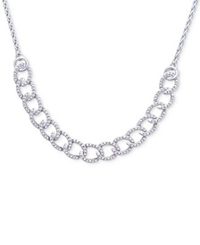 """Diamond Chain Link 23-1/4"""" Bolo Necklace (1/5 ct. t.w.) in Sterling Silver"""