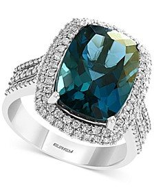 EFFY® London Blue Topaz (8-1/10 ct. t.w.) & Diamond (1/2 ct. t.w.) Double Halo Statement Ring in 14k White Gold