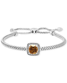 EFFY® Citrine (2 ct. t.w.) & Diamond (1/10 ct. t.w.) Bolo Bracelet in Sterling Silver