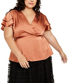 Trendy Plus Size Satin Flutter-Sleeve Top
