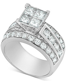 Diamond Princess Quad Cluster Engagement Ring (3 ct. t.w.) in 14k White Gold