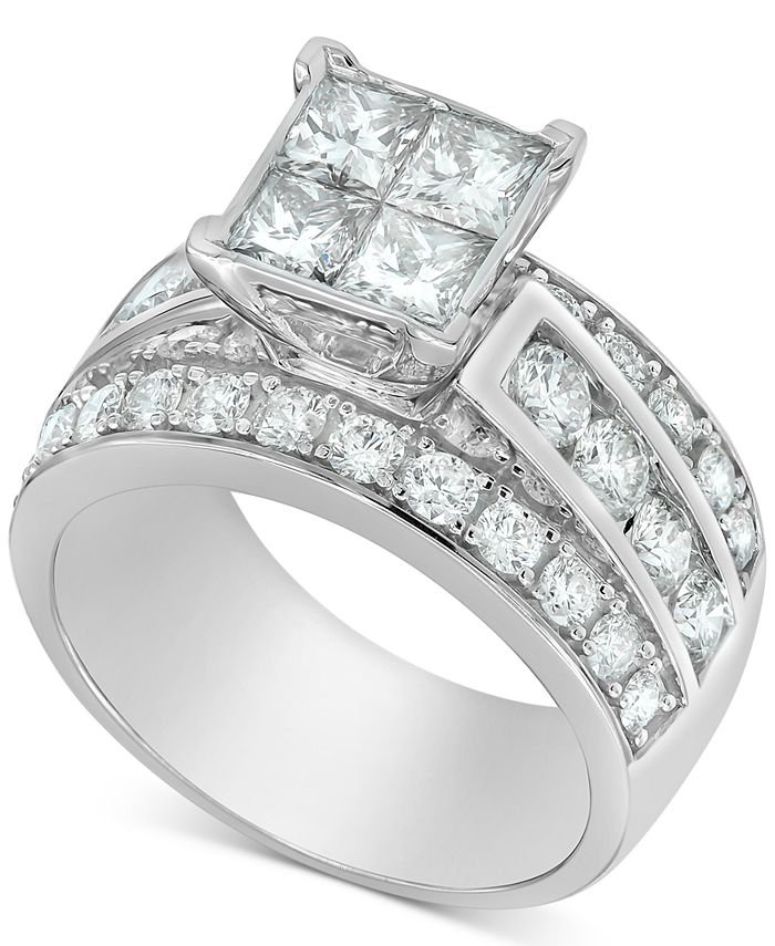 Macy's - Diamond Princess Quad Cluster Engagement Ring (3 ct. t.w.) in 14k White Gold