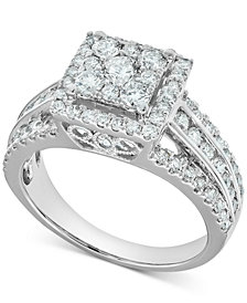Diamond Square Cluster Halo Engagement Ring (1-1/2 ct. t.w.) in 14k White Gold