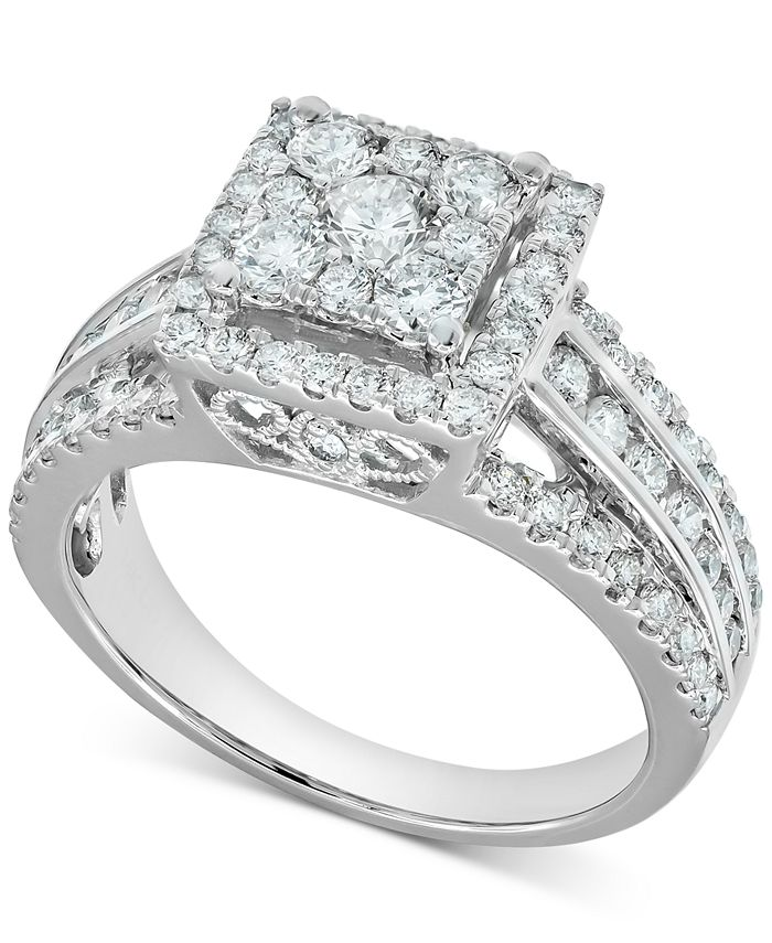 Macy's - Diamond Square Cluster Halo Engagement Ring (1-1/2 ct. t.w.) in 14k White Gold