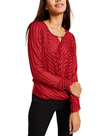 Juniors' Rhinestone-Neckline Striped Top