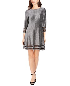 Petite Metallic Illusion-Trim Dress