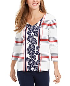 Petite Mixed-Print Top, Created for Macy's