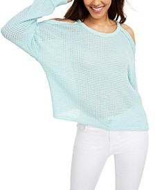 Juniors' Waffle-Knit Cold-Shoulder Top