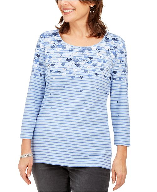 Karen Scott Falling Hearts Embellished Striped Top, Created For Macy's