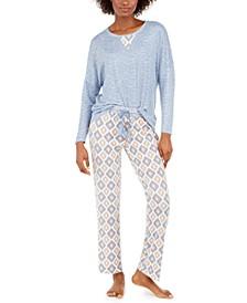 Women's Heathered Top & Printed Pants Pajama Set