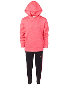 Little Girls Embossed-Logo Hoodie & Tricot Jogger Pants