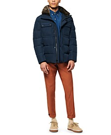 Men's Godwin Down Filled Trucker Jacket with Removable Faux Fur Collar and Hidden Hood