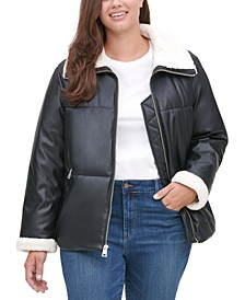 TrendyPlusSizeSherpa-TrimmedFaux-LeatherPufferJacket