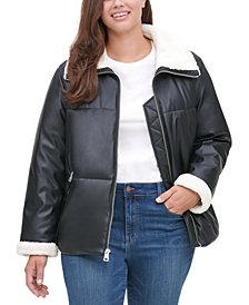 Levi's® TrendyPlusSizeSherpa-TrimmedFaux-LeatherPufferJacket