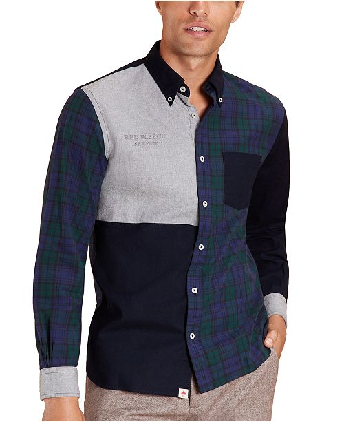 Brooks Brothers Men's Red Fleece Colorblocked Patchwork Flannel Shirt