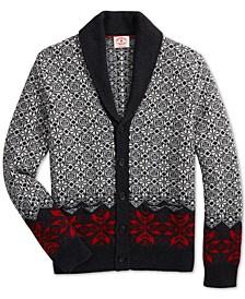 Men's Red Fleece Nordic Fair Isle Shawl-Collar Cardigan
