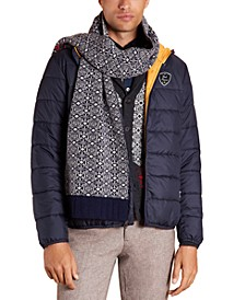 Men's Red Fleece Quilted Hooded Puffer Jacket