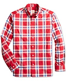 Men's Red Fleece Slim-Fit Performance Stretch Plaid Shirt