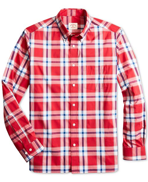 Brooks Brothers Men's Red Fleece Slim-Fit Performance Stretch Plaid Shirt