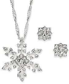 "Silver-Tone Crystal Snowflake Pendant Necklace & Stud Earrings Boxed Set, 17"" + 2"" extender, Created For Macy's"