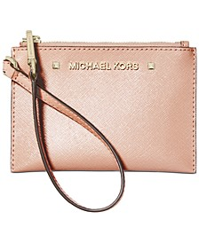 Karla Metallic Leather Wristlet