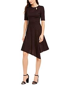 Asymmetrical Elbow-Sleeve Dress