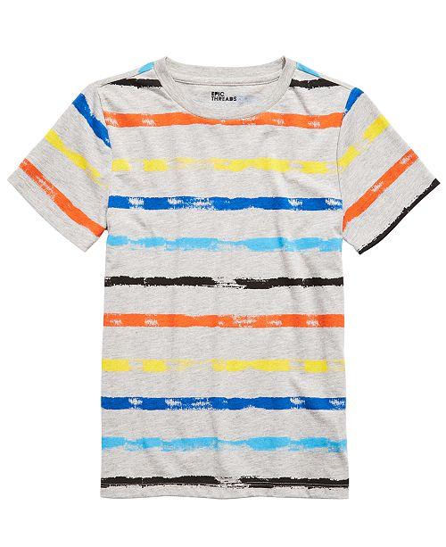 Epic Threads Big Boys Rainbow-Striped T-Shirt, Created For Macy's
