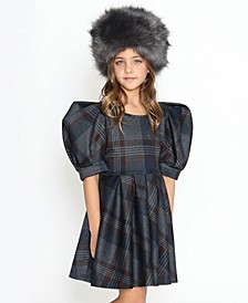 Little Girls Fit and Flare Dress with Puffy Shoulders 3/4 Cut Sleeves