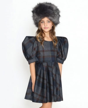 Victorian Kids Costumes & Shoes- Girls, Boys, Baby, Toddler Lanoosh Little Girls Fit and Flare Dress with Puffy Shoulders 34 Cut Sleeves $63.00 AT vintagedancer.com